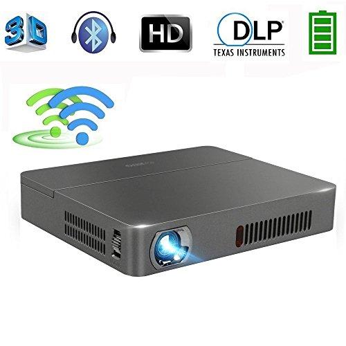 Beamer Full HD DLP Android Projektor 3D WIFI Bluetooth 2000 ANSI Lumen unterstützt 1080p/720p Mini Projektor mit USB HDMI AV TF Audio Eingänge für PC Laptop Smartphone Android Phone - 2d-zu-3d-projektor