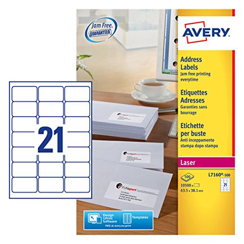 Avery L7160-500 Self-Adhesive Address/Mailing Labels Amazon FBA Barcode Labels), 21 Labels Per A4 Sheet - Best Price
