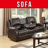 UEnjoy Leder-Sofa, 3-, 2-, und 1-Sitzer, Liege, braun, 3seater,brown