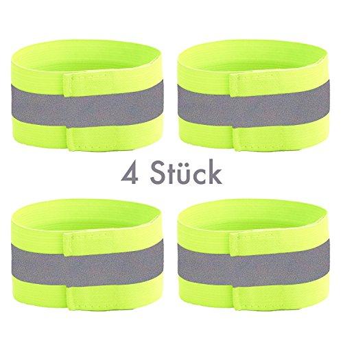 4 Stück Five Star Running Reflektorbänder inkl. Tasche | Sicherheit beim Joggen, Fahrrad fahren, Laufen uvm. | stretchfähig bis 55 cm