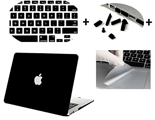 "Moca' Logo Cut Hard Shell Skin Cover Case For Apple Macbook Air 13"" 13.3"" Inch A1369 , A1466 With Saviour Accessories (Black)"