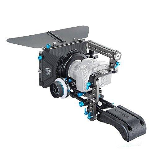 Fotga DP500III 15mm Schienen Rod Filming System: A/B-Stopp Schärfezug Follow Focus + Swing-away Matte Box + 15mm Standard-Schnellspanner Schulter-Support-System (Schienen-Rod-Plate + Drehgriff und Arm Kamera Cage + Linse Halterung + Schulterauflage) für Blackmagic BMCC BMPCC 5DII III A7 A7S A7R2 A7RM2 GH3 GH4 7D D90 D7000 D7100 Smart D7200 D750 D800 D810 DSLR - Matte Box Rod Support