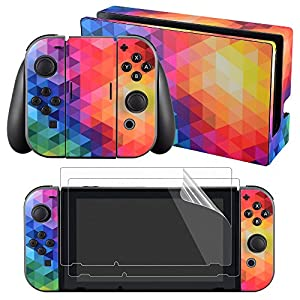 eXtremeRate Nintendo Switch Sticker Skin Folie Abziehbild Aufkleber Faceplates Decal Klebefolie mit 2 Displayschutzfolie für Nintendo Switch Console&Joy-Con&Dock&Grip(Mehrfarbig)