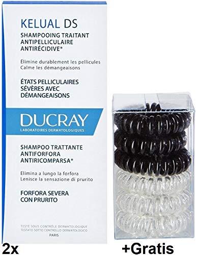 2x 100ml Kelual DS Shampoo +Gratis 1x 6 Spiral-Haargummis. Stark gegen Schuppen - Gratis-shampoo