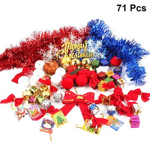 Toyvian Weihnachtsbaum Mini Geschenkbox Bownot Schneeflocke Ball Garland Pinecone Hängen Anhänger Ornament Urlaub Dekor Dekoration Lieferungen (Gelegentliche Farbe) 71 STÜCKE -