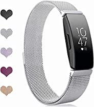 Compatible with Fitbit Inspire Bands and Fitbit Inspire HR Band, Stainless Steel Metal Strap Wristbands Sport