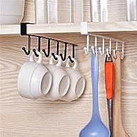 Glodenbridge - Ganchos para colgar (6 ganchos), se acoplan en un estante, multifunción: para colgar tazas, copas de vino, corbatas, cinturones, etc. (paquete de 2 uds.)