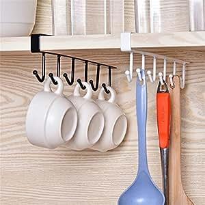 multifunktionales hakengestell von glodenbridge mit 6 haken zum aufh ngen unter regalen und. Black Bedroom Furniture Sets. Home Design Ideas