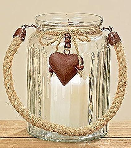 Windlicht aus Glas mit Herz Rostoptik Teelichthalter mit Metallherz für Teelicht oder Kerze (Herz Glas Teelicht)