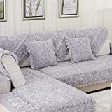 Plush Sofa slipcover, Deluxe Quilted Rose Lace Sofa covers Anti-slip Thick PET Dog Sofa Furniture protector European-sold by piece-gray 1pc-90x120cm