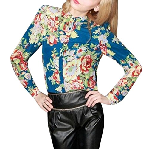 QIYUN.Z La Flor De Las Mujeres De Gasa Estampada Europa Blusa De La Camisa De Manga Larga Tops Casuales
