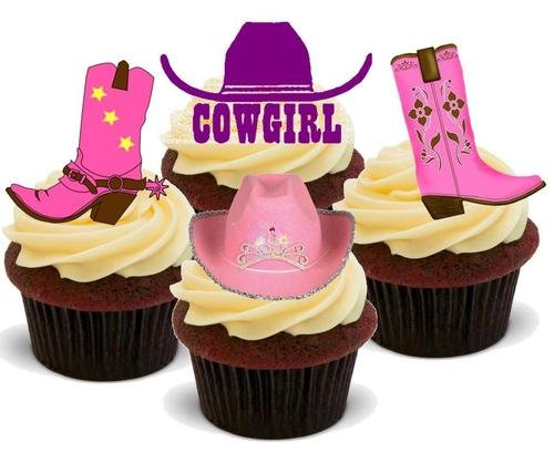 COWGIRL MISCHUNG - 12 essbare hochwertige stehende Waffeln Kuchen Toppers - COWGIRL MIX - Party Supplies Cowgirls