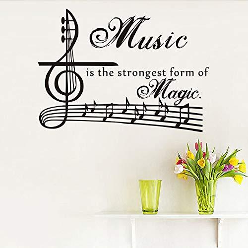 Musik ist die stärkste form von magic wandaufkleber für kinderzimmer vinyl kunst musik zitate abnehmbare notenschlüssel musiknoten wohnkultur marineblau 80 cm x 58 cm