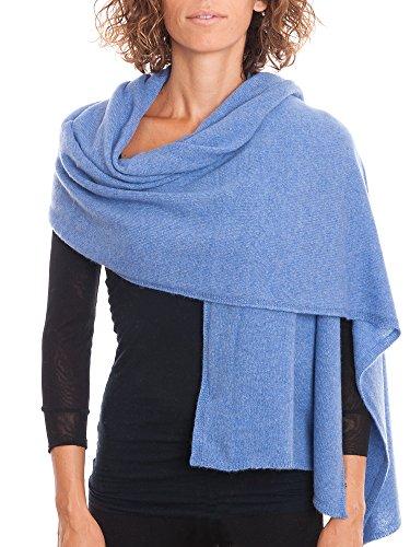 DALLE PIANE CASHMERE Stola aus 100% Kaschmir - für Frau, Farbe: Hellblau, Einheitsgröße (Schal Stil Wolle)