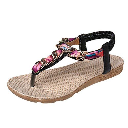 Minetom Eté Femme Chaussure de Plage Plate Sandales Bout Ouvert Sandales