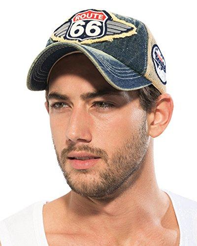 Ililily Route 66 Wing Denim Mesh Back Trucker Hat Snapback Baseball Cap