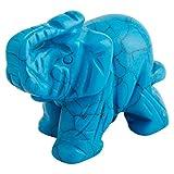 Shanxing Mini éléphant Pierres et Cristaux Figurine Poche Statue Cristal Guérison Reiki Décoration 1.5 Pouces,Bleu Turquoise