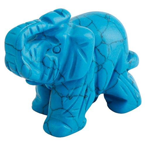 efant Statue Figur Edelstein Fengshui Ornamente Dekoration 1.5 Zoll,Blau Türkis (Türkis Elefanten-statue)