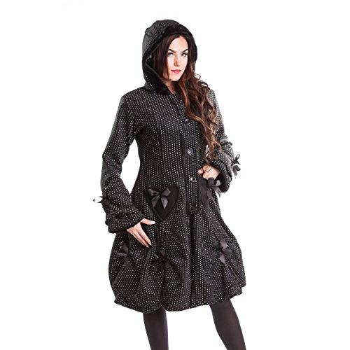 Poizen Industries Gothic Damen Mantel mit Kapuze - Alice Coat Polka Dot Coat mit Schnürung (M)