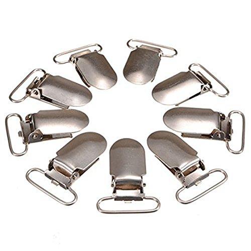 TOOGOO(R) 30 Stueck Metallhosentraeger mit einer Kunststofffolie Gurtband Overalls Clip Entenschnabel Haken - Silber