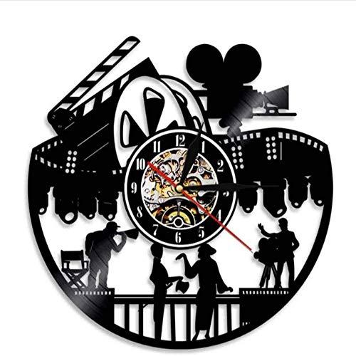 syssyj Cine Teatro Arte de la Pared Decoración para el hogar Reloj de Pared Actor temporario Producción de películas Amantes del Cine Regalo Retro Antiguo Disco de Vinilo Reloj de Pared
