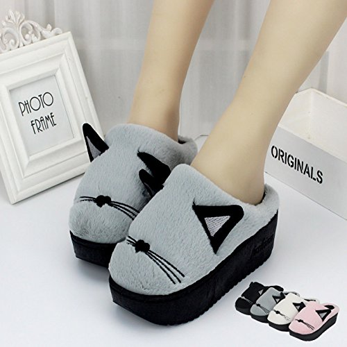 LaxBa Mesdames Accueil Parole de chaussons moelleux agréable Cotton-Padded , Chaussures Semelle Gray