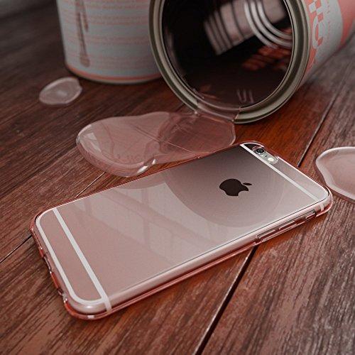 Apple iPhone 6 6S Hülle 360 Grad Handyhülle von NICA, Full Cover vorne & hinten Rundum Doppel-Schutz, Dünnes Ganzkörper Case Silikon Etui, Transparenter Displayschutz & Rückseite - Grau Rose Gold