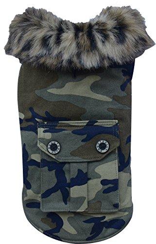 Doggy Dolly W061 Hundemantel Camouflage mit Kunstfell, grün, Wintermantel/Winterjacke, Größe : S