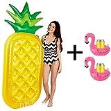 Aidudo Aufblasbare Luftmatratze, Ananas Aufblasbares Schwebebett Badespielzeug mit 195*100*20cm Outdoor PVC Aufblasbarer Wasser Schwebebett Schwimm Wasserspielzeug-Aufblasbarer Getränkehalter Flamingo 2 Stück(gelb + grün+rosa)