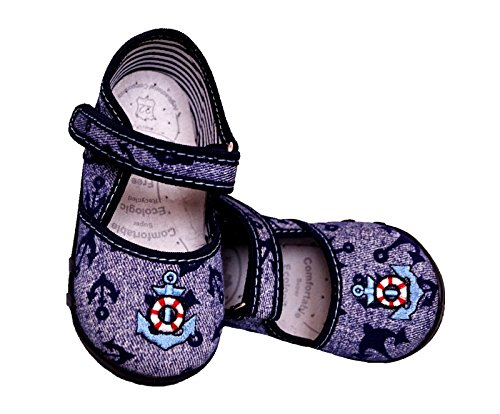Renbut Baby Jungen Hausschuhe Sandalen Lauflernschuhe Anker Jeans Blau Innensohle Leder Blau