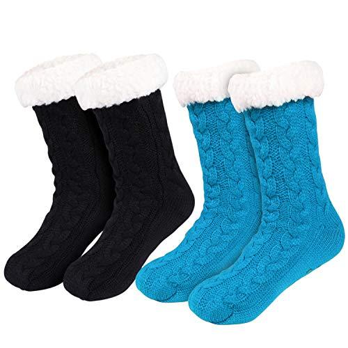Tacobear 2 Pares Invierno Calcetines Mujer Calcetines Zapatillas Casa Calcetines Antideslizantes Cálido...