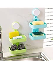 Shreehari Shopper® Double Layer Soap Box Suction Cup Holder Rack Bathroom Shower Soap Dish Hanging Tray Soap Holder Storage Holders (Colour May Vary) (1)