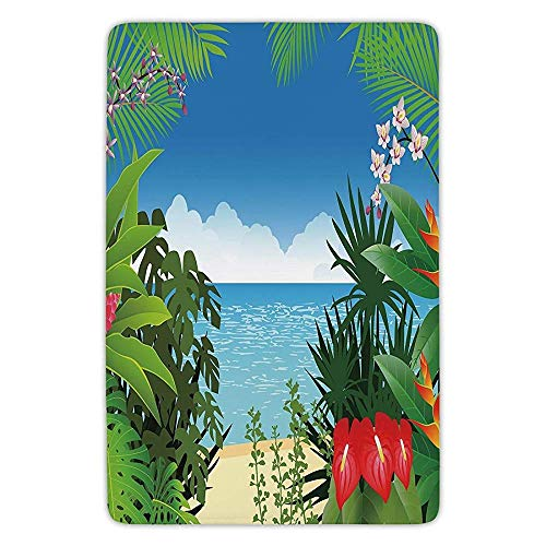 RAINNY Bathroom Bath Rug Kitchen Floor Mat Carpet,Leaf,Beach Theme Island Jungle Sea Shore Ocean View with Side Flowers Crepe Gingers Print,Multicolor,Flannel Microfiber Non-Slip Soft Absorbent Island Flower Bowl