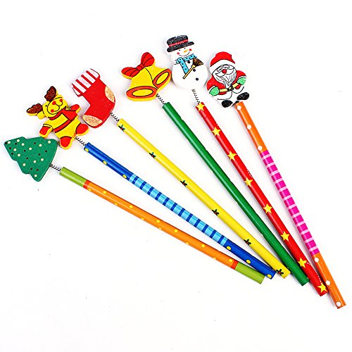 Twistables Marker (6PCS Santa Schneemann Holz Bleistifte Baum Glocke Weihnachten Geschenke für Kinder)