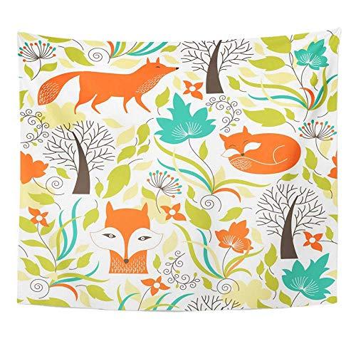 Wandteppich Polyester Stoff Print Home Decor grüner Fuchs mit Füchsen orange Blume Herbst Grafik wunderlichen Baum Floral Herbst Wandbehang Tapisserie für Wohnzimmer Schlafzimmer Schlafsaal