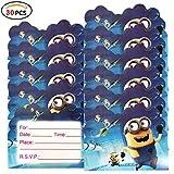 Qemsele inviti Compleanno Bambini, 30 Inglese Inviti Battesimo con Buste Biglietti Cartoline per Bambini, Ragazze Festa di Compleanno e Baby Shower (4,3 * 5,5 Pollici (11 * 14 cm), Minions)