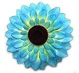 "1 Pc Of 5.5"" Blue Sunflower Hair Clip Sunflower Hair Accessories, Flower Hair Clips For Women Flower Girl Hair Accessories For Short Hair And Hair Acc"