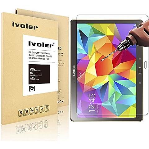 Samsung Galaxy Tab S 10.5'' (SM-T800/SM-T805) Protector de Pantalla Cristal, iVoler® Film Protector de Pantalla de Vidrio Templado Tempered Glass Screen Protector para Samsung Galaxy Tab S 10.5'' (SM-T800/SM-T805) - Dureza de Grado 9H, Espesor 0,30 mm, 2.5D Round Edge-[Ultra-trasparente] [Anti-golpe] [Ajuste Perfecto] [No hay Burbujas]- Garantía Incondicional de 18