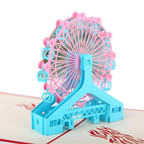 Funpa Popup Grußkarte, Geschenk Gruß Karte Stilvolle Riesenrad Papier Popup Karte für Geburtstag (Gruß-karte-papier)