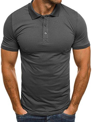 OZONEE Herren Herren Poloshirt Polohemd Polo T-Shirt Kurzarm Figurbetont  BREEZY 171221 Anthrazit