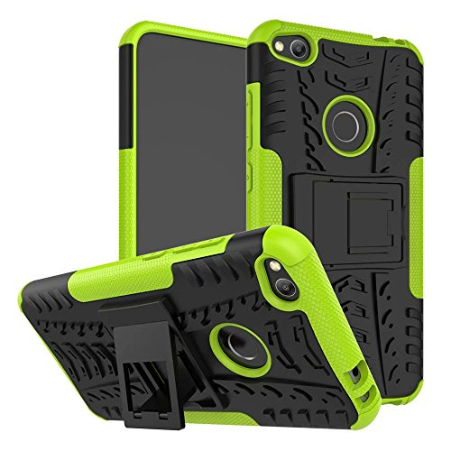 YHUISEN Hyun Pattern Dual Layer Hybrid Armor Kickstand 2 In 1 Shockproof Case Cover für Huawei P8 Lite 2017 / Honor 8 Lite 2017 / P9 Lite 2017 ( Color : White ) Green