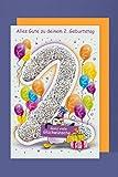 Grußkarte 2. Geburtstag Karte Kinder Ballons Glitzer Druck 16x11cm