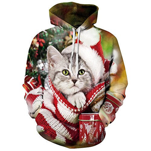 Herren Damen Kapuzenpullover Hoodie Katze 3D Druck Weihnachten Sweatshirt Pullover Tops 2XL/3XL