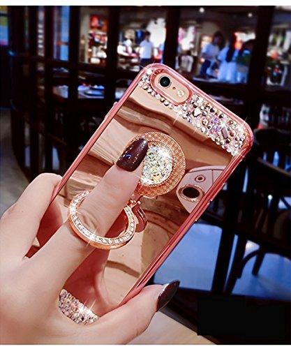 Ukayfe Copertura Custodia a specchio per iPhone 7/8 plus, Moda Casa Con il confine di oro rosa placcatura Design ,Custodia Brillante cristallo Ultra Sottile Morbido TPU Gel Silicone Mirror Case Protet Oro con ring holder