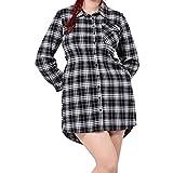 Uranus Damen Übergröße Plaid Hoch Niedrig Irregulär Saum Streifen T-Shirt Kleid Rock mit Tasche