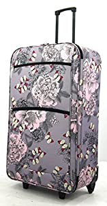 "Extra Large 30"" Lightweight Luggage Wheeled Trolley Suitcase Case XL Travel Bag (Butterfly)"