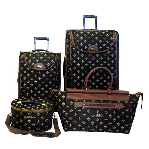 american-flyer-luggage-fleur-de-lis-4-piece-set-black-one-size
