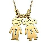 Bokning Kette Damen Mit Kinder Name Zwei Kinder Anhänger Mutter Name Halskette Custom mit 2 Babys Namen Silberschmuck