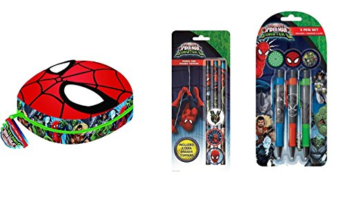 Spiderman Vs Sinister 6 Stationery includes Spiderman Moulded Mask Pencil Case, 3 Pens with 3 Clips and 3 Pencils with Erasers Toppers