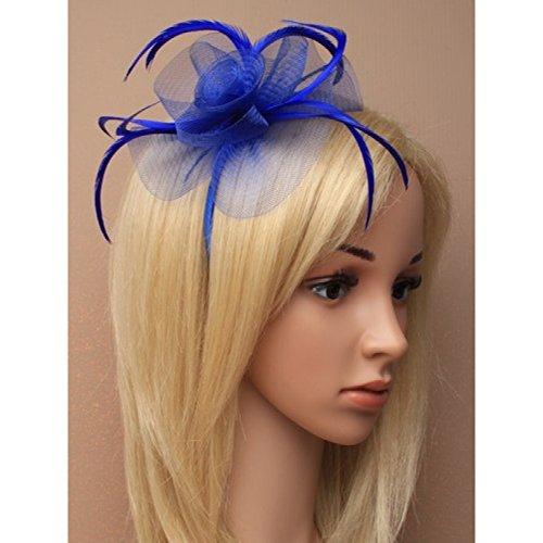 5874Royal Blau Schlingenware & Feder fascinator auf Haarreif, Hochzeit Races